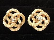 Lovely Estate 14K Gold Love Knot Cufflinks w/ Diamond & Same-Size Tie Tack