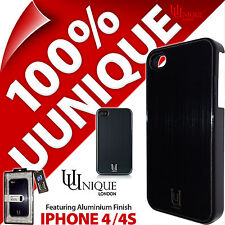 Caso de cáscara dura cubierta de Aluminio Uunique Black Metal para Apple iPhone 4/4S