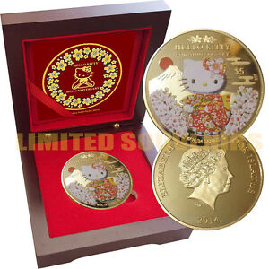 HELLO KITTY 40th Anniversary 1 oz Gold layered Proof Silver Coin Rosewood box