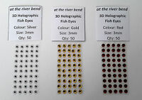 "3mm (7/64"") 3D Stick-On Eyes - Colours Available: Red, Silver or Gold (pack 50)"