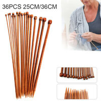 36PCS Bamboo Knitting Needles Set Pointed Carbonized  Wooden Single 2mm - 10mm