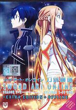 DVD Sword Art Online Complete ENGLISH AUDIO Season 1 & 2 & Extra & Offline - NEW