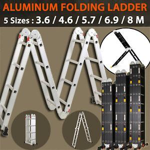 Multi Purpose Aluminium Folding Extension Ladder Step Scaffold from 3.6M to 8M