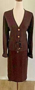 NWT - St John Sport Brown Knit Skirt Top Set Size Large