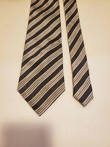 Donald J Trump Signature Collection Black and Silver Striped wide Tie Silk