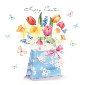 Spring Flowers and Butterflies Easter Cards – Pack of 5 Cards with Envelopes
