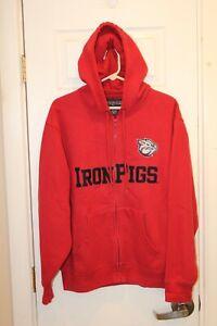 red Lehigh Valley IronPigs full-zipper stitched hoodie / hooded sweatshirt - M