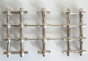 Vintage Leonard Expandable Silverplated Bamboo Trivet Med Large Tiki decor ITALY