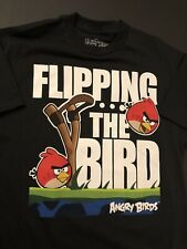 """Official Angry Birds """"Flipping The Bird"""" T-Shirt Men Size Large Black New"""