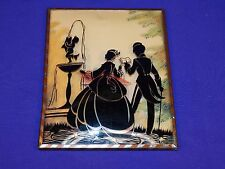 VINTAGE SILHOUETTE PICTURE FRAME COUPLE LOOKING AT A WATER FOUNTAIN STATUE