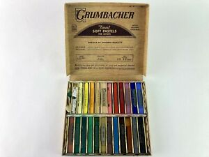 Grumbacher Set 00/2 24 Soft Pastels Vintage Partially Used Several Unused