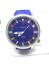 Geneva Mens Gm113 World Flags Silver & Blue Analog Watch #28