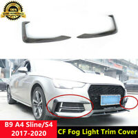 S4 Front Fog Light Cover Carbon Fiber Trim for Audi A4 B9 Sline & S4 2017-20