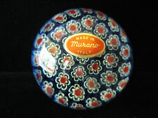 "MURANO MILLEFIORI PAPERWEIGHT 3"" WIDE X 2 1/2""  PAPER LABEL BLUE WITH RED WHITE"