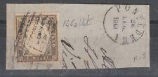 FRANCOBOLLI 1861 SARDEGNA 10 C. PONTEDERA 26/7 C/424