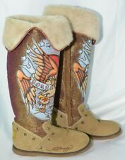 Ed Hardy • Winter Boots Born Free Eagle Faux Fur Lined • Women's Size 8 VGUC