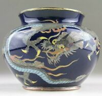 Dragon Cloisonne Flower Vase Meiji Japanese Antique Old Japan Satsuma Kutani Art