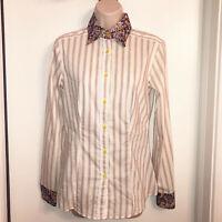 ETRO Stripes Floral Trim Cotton Button Down Top / Shirt US Size 10 IT42 $495
