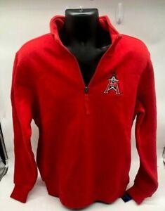 New Starter 1/4 Zip Sweatshirt Men Red Houston Roughnecks XFL Football