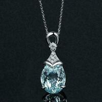 Vintage Gemstone Natural Aquamarine Silver Chain Pendant L0C0 B Nec Jewelry M5Y0