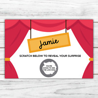 *PERSONALISED* SURPRISE show THEATRE ticket CARD birthday gift SCRATCH CARD