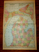 "1903 Cram's Atlas Map 2 Page,Michigan State,Nice Color,Suitable To Frame 14""X21"""