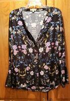 Democracy $74 Women's Black Floral Long Sleeve Blouse Size L