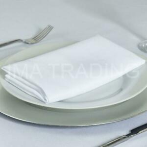 WHITE PLAIN POLYESTER NAPKINS 1-100 FABRIC LINEN WEDDING CHRISTMAS PARTY NEW UK