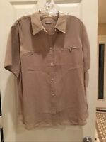 Chicos Tan Button Down Blouse Shirt Size 2 , Polyester suede Shirt Pretty Top!!