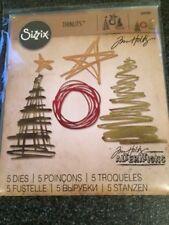 SIZZIX 5 THINLITS DIES FESTIVE SCRIBBLES CHRISTMAS TIM HOLTZ STORAGE 660980 NEW