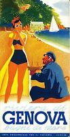 Genova Italy  Vintage painting art Travel Poster Print For Glass Frame 90cm