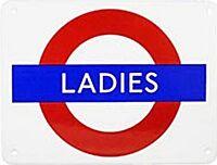 "Calamita da frigo stemma Metropolitana Londra scritta ""Ladies"" smaltato"