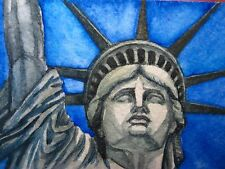 Watercolor Painting Face Statue of Liberty Island New York City ACEO Art