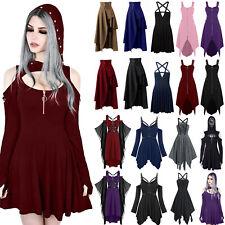 Womens Ladies Vintage Gothic Punk Lolita Steampunk Swing Dress Rave Party Dress