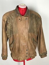 VTG Winlit Brown Leather Jacket Women's Small Bomber 90's Hip Hop Shoulder Pads