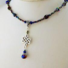 Hand crafted Irish Silver Celtic Knot Necklace w/ Hematite gemstone beads