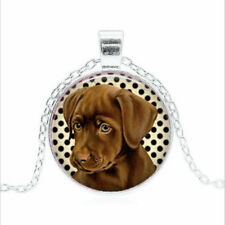 Chocolate Lab Puppy Tibet silver Glass dome Necklace chain Pendant Wholesale
