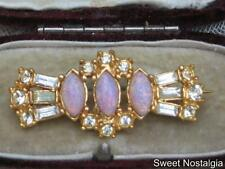 VINTAGE 40/50'S GOLD PLATED DIAMANTE & PINK OPALINE GLASS DECO STYLED BROOCH