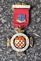 Royal Masonic Benevolent Institution 1929 Hallmarked Silver Gilt Jewel Medal