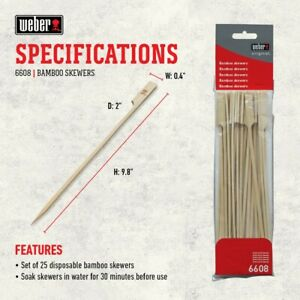 Weber 25 Flat Head Bamboo Skewers BBQ Premium Original Style Picks 6608