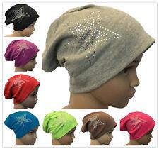 Baby Kinder Jersey Slouch Beanie Long Mütze mit StrassStern Unisex Baumwolle
