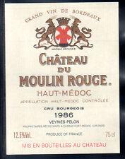 Étiquette Château MOULIN ROUGE. 1986. HAUT-MEDOC Cru Bourgeois