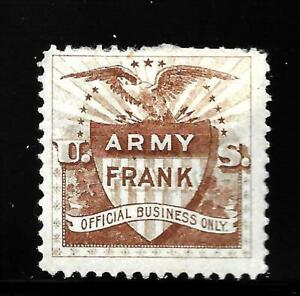 HICK GIRL-OLD MINT U.S. OFFICIAL TELEGRAPH STAMP  ARMY FRANK ( BROWN )    X9075