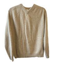 Field Gear FG Men's 100% Cashmere Soft Sweater Tan Light Brown V-Neck Sz medium
