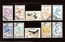 ROUMANIE Serie 8T + 2 timbres sur les oiseaux :cigogne,hirondelle,aigrette 1m 84