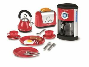 Pre school Kids Toy Set Kettle Toaster Coffee Maker Cups Plates Cutlery Set New