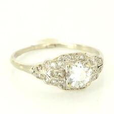 Antique Art Deco 14 Karat White Gold Diamond Engagement Ring Fine Jewelry Estate
