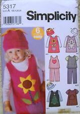 Simplicity Pattern #5317 Toddler Jumper/Top, Pants, Knit Top & Hat (3-4-5-6-7-8)