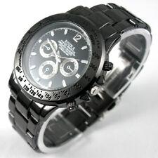 Montre-bracelet de sport quartz d'hommes en acier noir d'acier allié ROSRA Men's