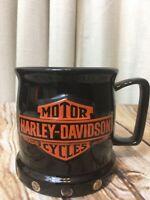 """Harley Davidson """"Raised Shield"""" Coffee Mug Cup Black  16 OZ."""